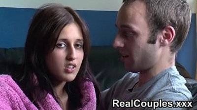 Real amateur couple Zarina and Jay chat before having sex