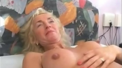 Busty Blonde Granny Gets Hairy Pussy and Fucked