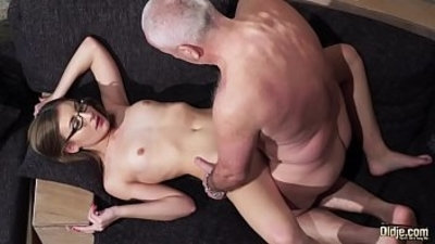 Old and Young Porn Grandpa Fucks Pussy fingers her twat and cumshot