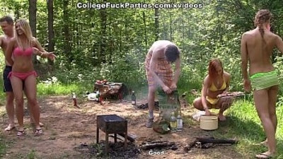 Real wild college fucking by the lake scene