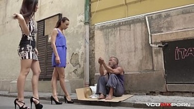 YOUMIXPORN Interactive Skinny teen Cayenne and busty babe Darcia Lee pick a homeless man from the streets and fuck him raw