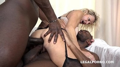 Granny whore Marina Beaulieu fucked like a bitch by Black monster cocks
