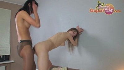 StraponCum Anal Pantyhose. The black pantyhose bring out...