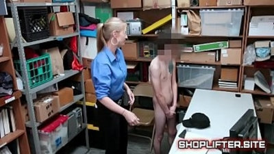 Excited Police Lady Gets Hard In Backroom