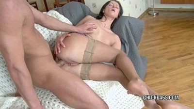 Russian hottie Maria in stockings getting pussy fucked