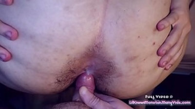 Sucking off my STEP BROTHERS little cock before letting him CUM on in my hairy ASSHOLE!