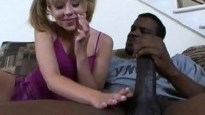 Chastity Lynne gobbles on a black beast!