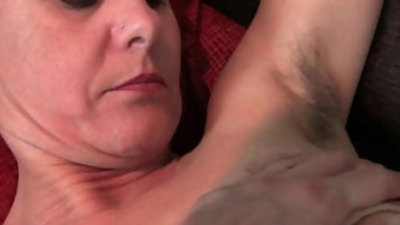 Hairy granny with big long and hard nipples