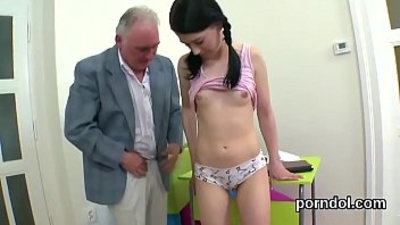 Lovesome bookworm was teased and poked by her older schoolteacher
