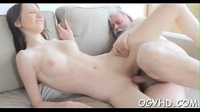 Horny babe screwed by old lad