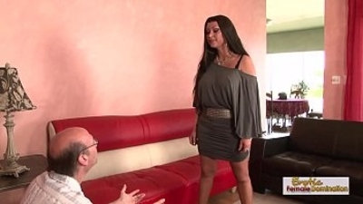 Brunette MILF cucks her husband fucking a black man