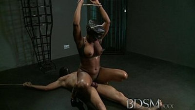 BDSM XXX Caged slave boy gets fucked hardcore treatment from his powerful and horny Mistress