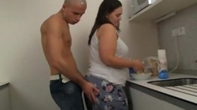 He thrusts his horny for cock into fat pussy