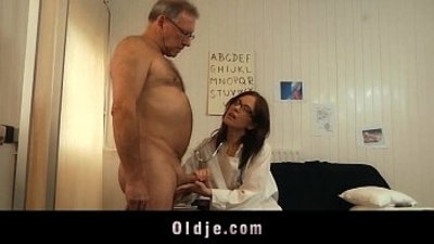 Young doctor fucking sucking old patient cock with glasses