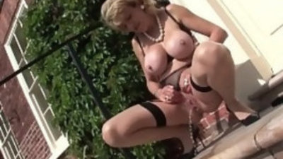 Lady sonia stripping outdoors at birch manor