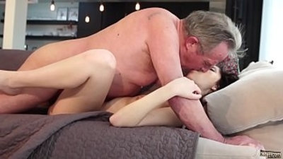 Old and Young Porn Sweet girlfriend gets face fucked by grandpa