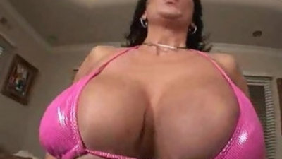Double busty vixen squeezes cock with tits