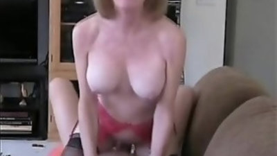 Son puts creampie inside mommy