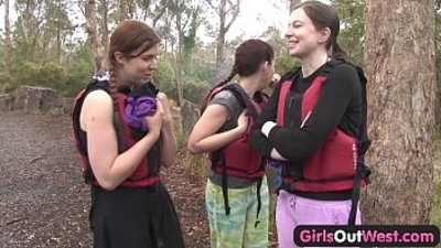 Hairy euro girl fingered in rafting threesome