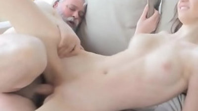 Horny young babe gets screwed by old lad
