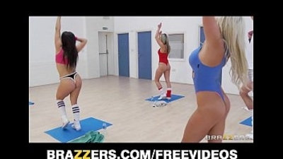 Slutty blonde aerobics teacher rides her students big cock